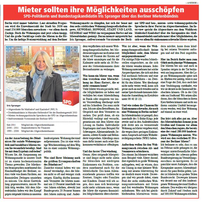 Iris Spranger im Gespräch Quelle:  Die Hellersdorfer, Ausgabe April 2013